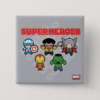 Badge Carré 5 Cm Superhéros de merveille de Kawaii