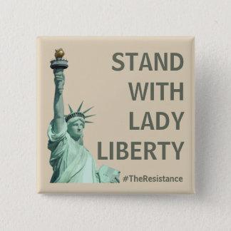Badge Carré 5 Cm Support avec Madame Liberty - plus forte ensemble