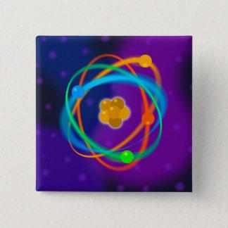 Badge Carré 5 Cm Taches de structure atomique