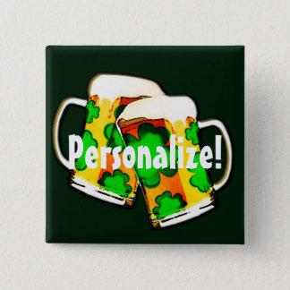 Badge Carré 5 Cm Tasses de bière du jour de St Patrick
