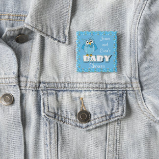 Badge Carré 5 Cm Thème bleu de baby shower du hibou | de point de