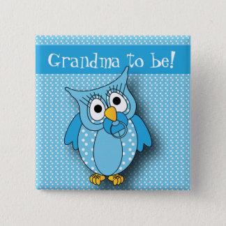Badge Carré 5 Cm Thème bleu de baby shower du hibou | de point de