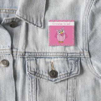 Badge Carré 5 Cm Thème rose de baby shower du hibou   de point de