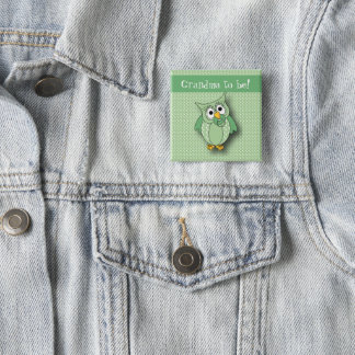 Badge Carré 5 Cm Thème vert de baby shower de hibou de point de