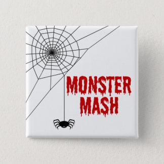 Badge Carré 5 Cm Toile d'araignée de Halloween de mâche de monstre