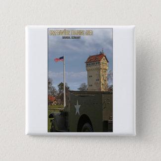 Badge Carré 5 Cm Tour de Grafenwöhr et drapeau américain