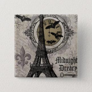 Badge Carré 5 Cm Tour Eiffel vintage moderne de Halloween de