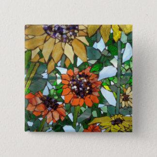 Badge Carré 5 Cm Tournesol de mosaïque