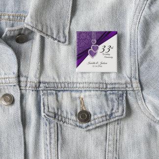 Badge Carré 5 Cm trente-troisième/6ème conception d'anniversaire de