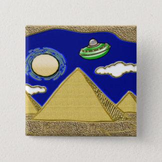 Badge Carré 5 Cm UFO au-dessus de l'Egypte