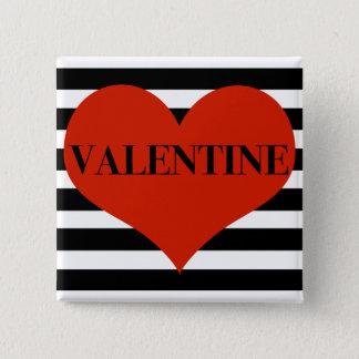 Badge Carré 5 Cm Valentine rayé