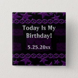 Badge Carré 5 Cm Vedette du rock de gâteau d'anniversaire dans le