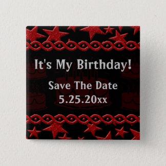 Badge Carré 5 Cm Vedette du rock de gâteau d'anniversaire en rouge
