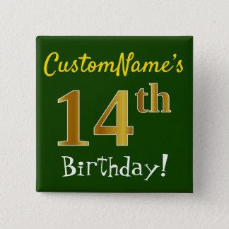Badge Carré 5 Cm Verdissez, anniversaire d'or de Faux le 14ème,