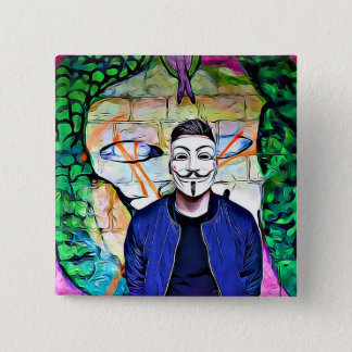 Badge Carré 5 Cm Vérité de masque et graffiti anonymes de chercheur