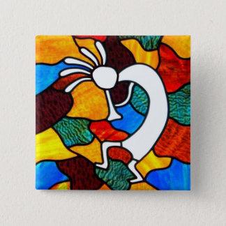 Badge Carré 5 Cm Verre souillé de Kokopelli