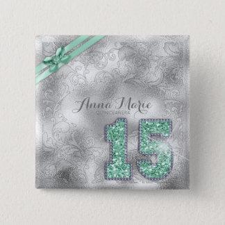 Badge Carré 5 Cm Vert en bon état ID382 anniversaire argenté de