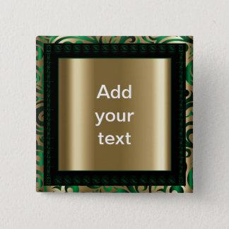 Badge Carré 5 Cm Vert et texte tourbillonnant du motif  