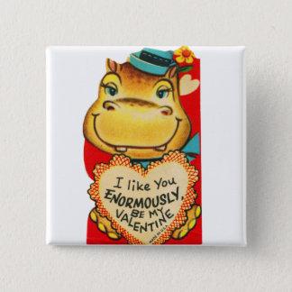Badge Carré 5 Cm Vieil hippopotame vintage de Valentine