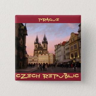 Badge Carré 5 Cm Vieille place - Prague, République Tchèque