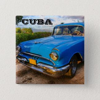 Badge Carré 5 Cm Vieille voiture classique américaine au Trinidad,