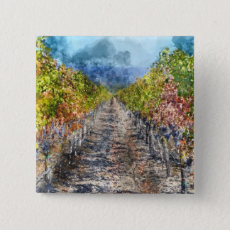 Badge Carré 5 Cm Vignoble en automne dans Napa Valley la Californie