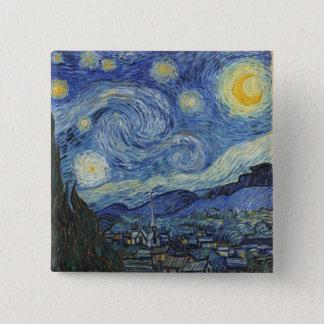 Badge Carré 5 Cm Vincent van Gogh | la nuit étoilée, juin 1889