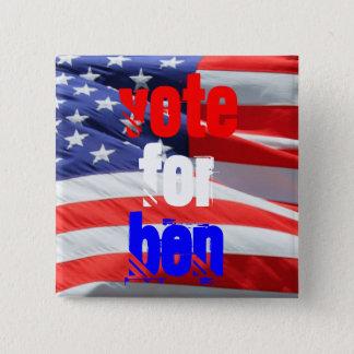 Badge Carré 5 Cm Vote pour Ben Carson, élections présidentielles