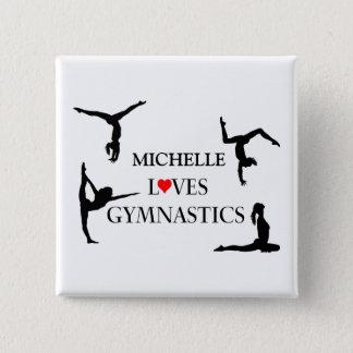 """Badge Carré 5 Cm """"VOTRE NOM"""" aime la gymnastique"""