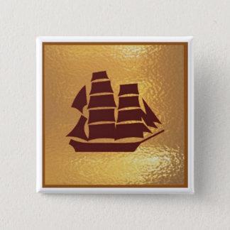 Badge Carré 5 Cm Voyage de vacances de bateau de bateau de voyage -