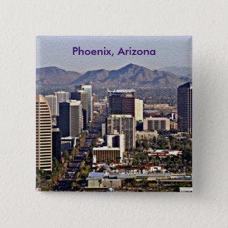 Badge Carré 5 Cm Vue du centre de Phoenix, Arizona