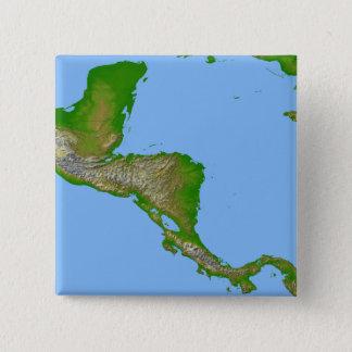 Badge Carré 5 Cm Vue topographique de l'Amérique Centrale