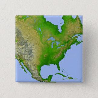 Badge Carré 5 Cm Vue topographique de l'Amérique du Nord