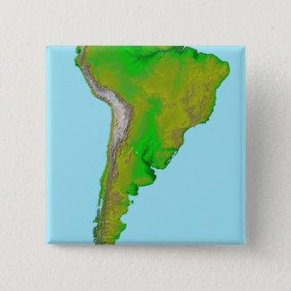 Badge Carré 5 Cm Vue topographique de l'Amérique du Sud