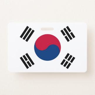 Badge nominatif avec le drapeau de la Corée du Sud