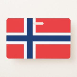 Badge nominatif avec le drapeau de la Norvège