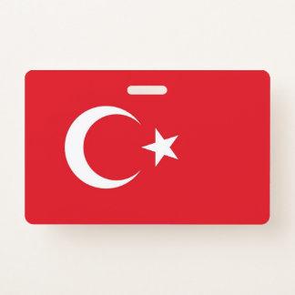 Badge nominatif avec le drapeau de la Turquie
