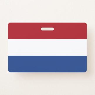 Badge nominatif avec le drapeau de Pays-Bas
