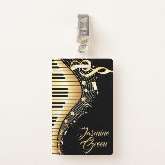 Badge Notes décorées d'un monogramme de musique de noir