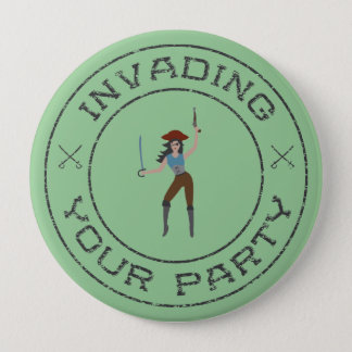 Badge Rond 10 Cm Bouton de fille de pirate