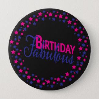 Badge Rond 10 Cm Bouton fabuleux d'anniversaire d'étoiles roses et