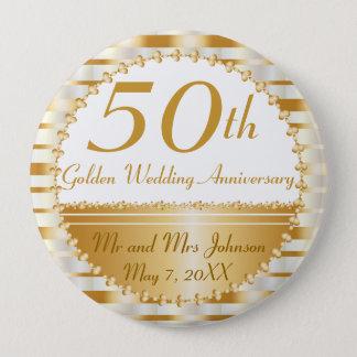 Badge Rond 10 Cm cinquantième Anniversaire de mariage d'or