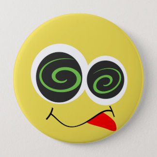 Badge Rond 10 Cm Emoji fol idiot font face au bouton
