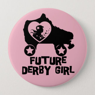 Badge Rond 10 Cm Future fille de Derby, conception de patinage de
