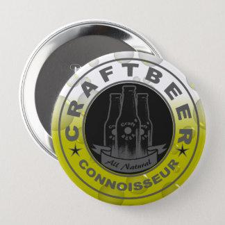 Badge Rond 10 Cm Jaune de bulle de connaisseur de bière de métier
