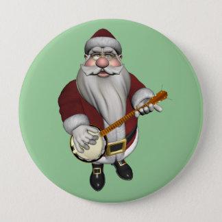 Badge Rond 10 Cm Le père noël jouant le banjo