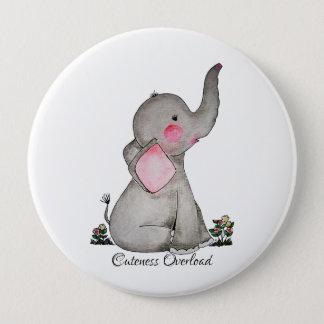 Badge Rond 10 Cm L'éléphant mignon de bébé d'aquarelle avec