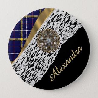 Badge Rond 10 Cm Motif écossais bleu de plaid de tartan et dentelle