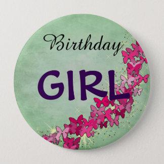 Badge Rond 10 Cm Princesse rose Birthday Girl Button de papillon