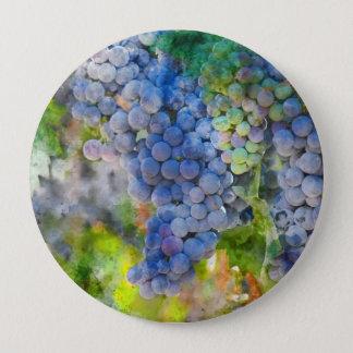 Badge Rond 10 Cm Raisins de vin rouge dans le vignoble